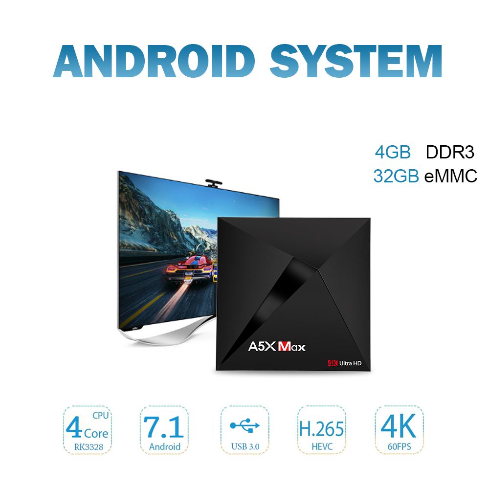 Clytte A5X Max Smart Android 7 1 TV Box RK3328 4K VP9 H 265